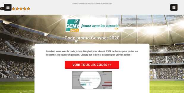 Code promotionnel Genybet